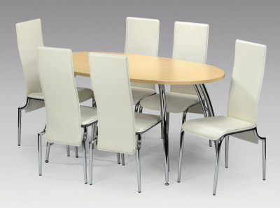Sophie Faux Leather, Beech and Chrome Dining Set By Julian Bowen