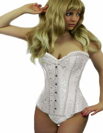 Yummy Bee Lingerie Corset Set Ivory White Brocade   Lace Stockings Plus Size 6 - 24 (24)