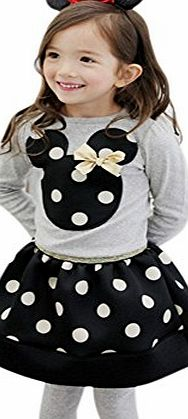 2pcs Kids Girl Baby Toddler Top T-shirt+Skirt Tutu Set Clothing Outfit Red Black