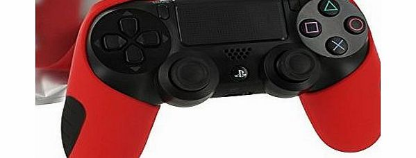 ZedLabz SG-1 silicone rubber grip cover case skin for Sony PS4 controller (Red)