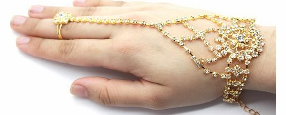 Womens, Girls Diamante Rhinestone Bracelet With Ring Indian Bridal Jewellery GOLD Plated