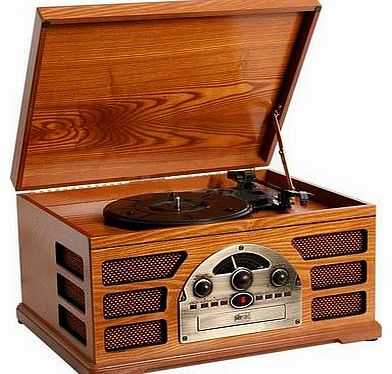 Wooden Retro Turntable 3 Speed AM/FM Radio CD and Cassette Player - (Beech)